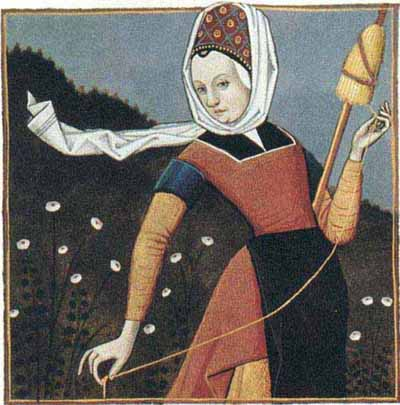 Spinster spinning flax using a drop spindle and distaff
